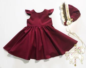 Classic Crimson Dress | Christmas Dress | Burgundy | Girls Dress | Baby Dress | Toddler Dress | Holiday Dress | Party Dress | Birthday Dress