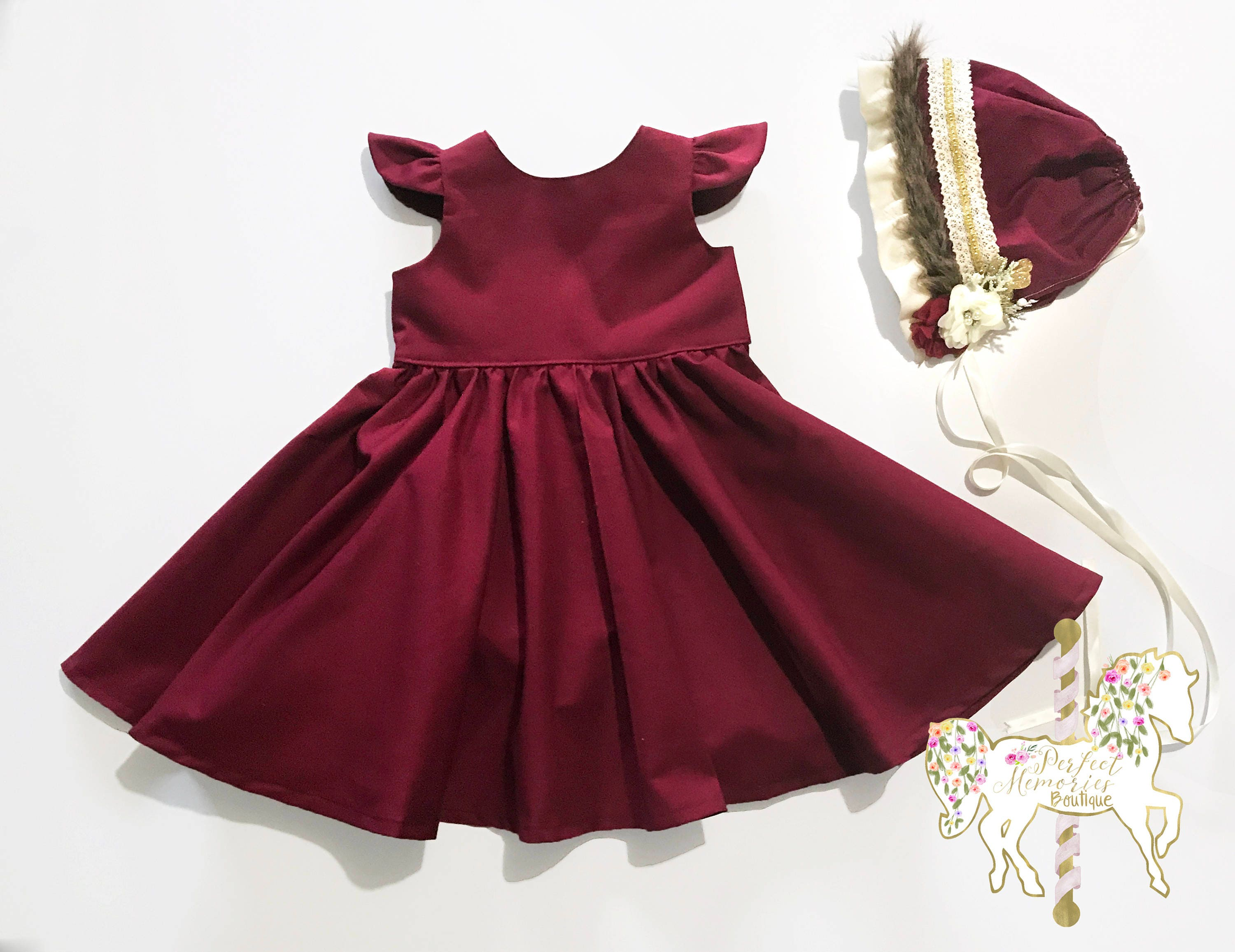 Classic Crimson Dress Christmas Dress Burgundy Girls