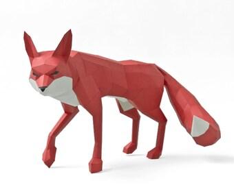 red Fox 3D Papercraft - low poly paper sculpture