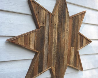 Wood Star, Rustic Lath Art, Eight Pointed Star, Reclaimed Star, Salvaged Wood Star