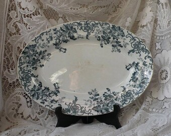 Small French antique oval ironstone serving plate platter with teal floral transferware pattern, shabby chic, nordic, French country home