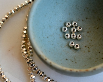 Karen Hill Tribe Silver Beads Rondelle Beads Faceted Spacer Beads Handmade Fine Silver Beads, Pack of 50, AL15-8P50