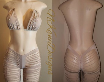 Exotic Dancewear, Stripper Clothes, stripperwear, Stripper Outfits, Embellished, Taupe Cut Shorts Set, READY TO SHIP