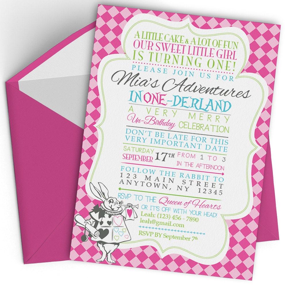 Alice in Wonderland Birthday Invitation Alice in Wonderland
