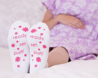 Ready. Set.Push! Pink Fun Labor Delivery Push Non Skid Hospital Socks For Mom To Be, Hospital Bag Must Have, Best Baby Shower Gift