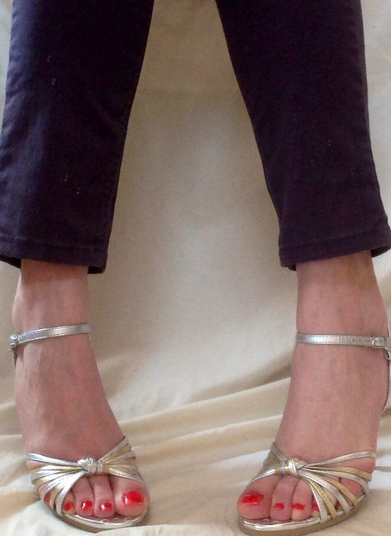 by and 5 heels Heeled silver 4 6 vintage strappy