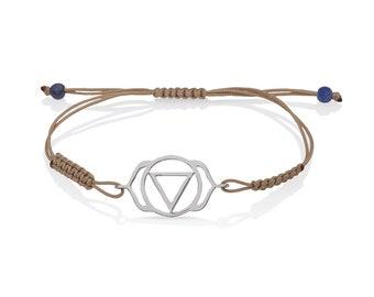 chakra bracelet, silver, with ajna chakra , third eye chakra