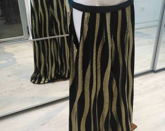 Gold and black sequin harem pants with holes