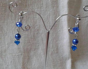"""boucles d'oreilles """"trio de perles bleues"""""""
