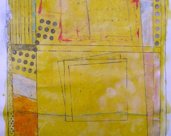 """Modern Abstract Painting Original Art Yellow Orange Turquoise Pink 18x24"""" Graphite Mark Making Destroy the Painting Urban Decay Framed Art"""