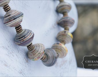 One-of-a-kind Recycled Paper Bead Necklace