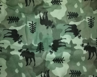 Green Camofulage with Moose Flannel Fabric