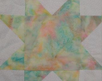 Handmade Multi pastel and White Star Baby Quilt