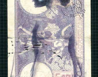 "Original mixed Media art, 'Dirty Money Mask' approx 3.5"" X 5.25"""