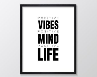 Positive Mind Printable Art, Inspirational & Motivational Typography Print, Instant Download, Wall Art Quote, Black and White
