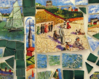 Mosaic Tiles Artist Master French Impressionists Sky Village Sailing Countryside Monet Hand Cut Tiles