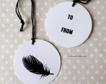 Set of 5 Tags tags feather TO... FROM... + Twine