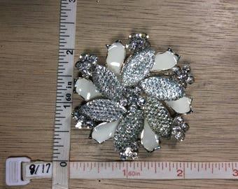 Vintage Silver Toned Pin Brooch White Enamel Rhinestones Flower Used