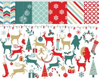 Christmas clipart and papers - reindeer clip art, digital papers, festive, red, gold, teal, blue, Christmas trees, deer, reindeer, Santa,