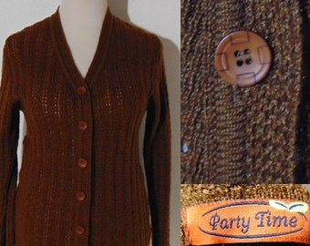 vintage 70s Brown Party Time cardigan sweater long sleeve button front knit lightweight summer hipster mod
