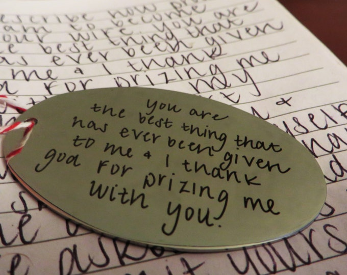 Handwritten Brushed Steel Christmas Ornament - Your Handwriting (31-50 characters)