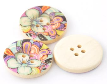Lot 5 buttons wood floral Theme multicolored - 25 mm - 4 holes