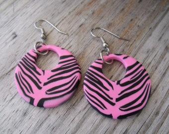 Hot Pink Zebra Print Hoop  Earrings