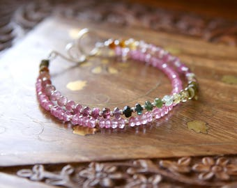 Summer on the High Fells Bracelet - Pink Green Ombre Watermelon Tourmaline, Mystic Topaz Gemstone Beaded Sterling Silver Jewellery by Ikuri