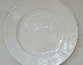 French Antique White Large Porcelain Plate(31cm) - Farmhouse,Sarreguemines 1875,White, Ironstone,Farmhouse Table,Shabby Chic,Vintage,Gift