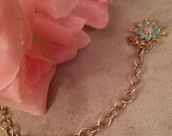 Vintage MONET Chain Bracelet, Gold Chain, Added Charm, Vintage Accent, Starburst With Stones