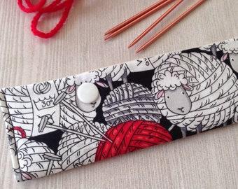 Sheep DPN case for double - pointed needles, DPN holder, DPN needle case, sock knitting holder, gift for knitters