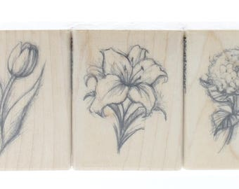 Inkadinkado Set of 3 Garden Botanical Flower Sketch Wooden Rubber Stamp