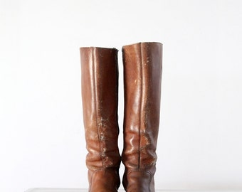 1970s hippie boots, tall brown leather boots, women's size 8.5