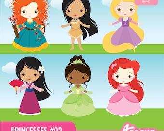Princesses 02 Clipart Set - Instant Download - PNG Files.