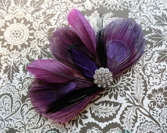DANIELLE Grape Purple Peacock Feather Hair Clip, Fascinator