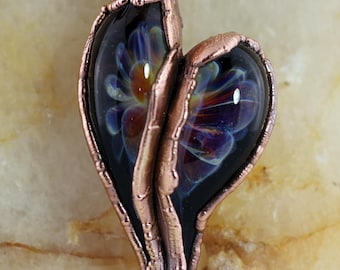 Lampwork Glass and Copper Electroformed Heart on a Copper Chain by Diana Dunn