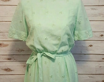 Vintage, 1970's, eyelet embroidered mint green day dress, Size M