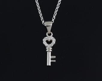 925 Sterling silver small key Necklace, Silver key bone necklace, sterling silver small key pendant necklace, Cubic Zirconia key jewelry