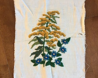 Vintage 1970's Unframed Floral Embroidery | Yellow & Blue