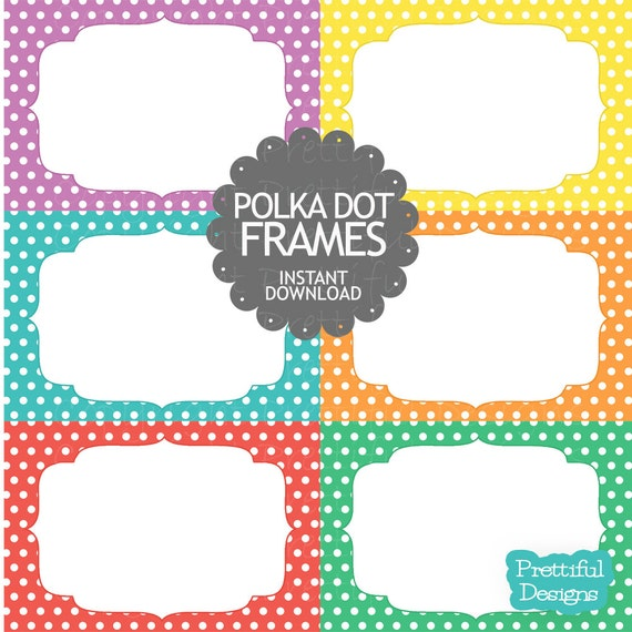 Polka Dot Digital Frames Clip Art Commercial Use Instant