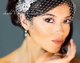Leslie Li Monica Style Crystal Bridal Birdcage Veil with Crystal Comb