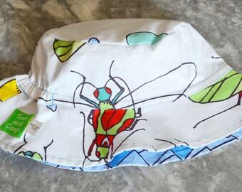 Giant Bugs Reversible Bucket hat, baby sunhat, boys sun hat, toddler summer hat, boys summer hat, baby sun hat, summer hat
