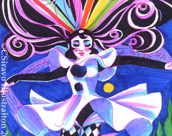 Pierrot Harlequin Complete Synergy Art Print Open Edition