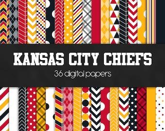Kansas City Chiefs Digital Paper Pack - INSTANT DOWNLOAD