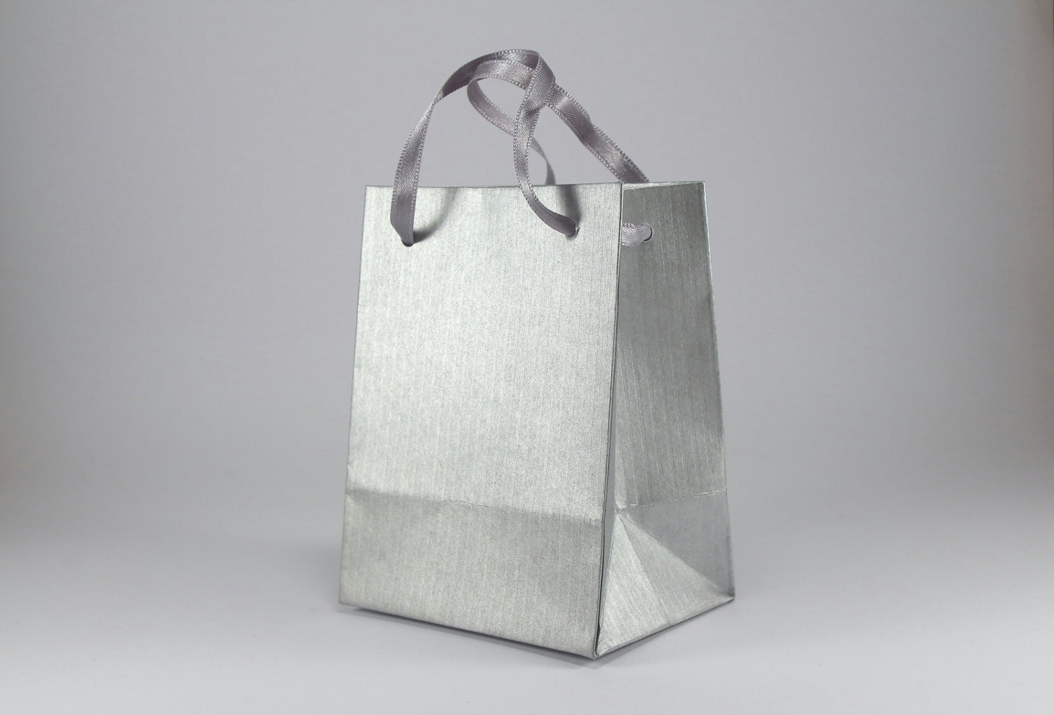9 Paper Gift Bags with Handles Extra Small Silver Paper Bags