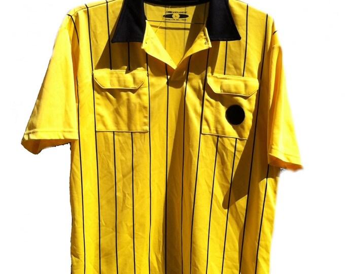 Veloce Athletic Shirt Large Yellow Soccer Futbol Referee Jersey Short Sleeve