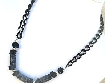 Lava Rock Necklace, Unisex Jewelry, Mens Necklace, Black Jewelry, Stone Necklace for Men, One of a Kind Gift for Him, Gift for Her 21in