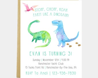Dinosaur Birthday Party Invitation, Chomp Stomp Roar, Party Like A Dinosaur, Dinosaur Party, Dinosaur Invite, Watercolor, Printable/Printed