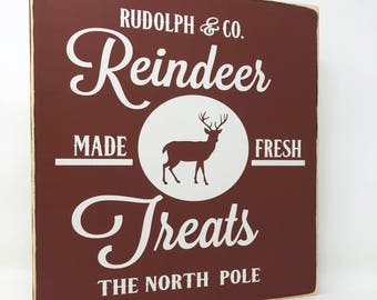 Reindeer Treats Wood Sign, Wood Christmas Signs, Christmas Decor, Distressed Wood Sign, Farmhouse Christmas Decor, Farmhouse Style, 11x12 in