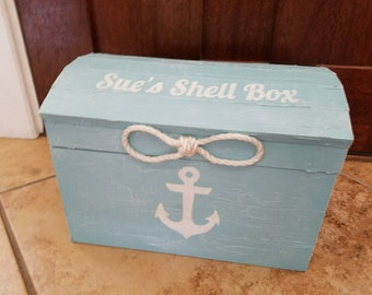 Personalized Aqua Blue Whitewash Nautical Themed Beach Wedding Card Box Holder Treasure Chest Unity Sailors Rope Handles Hand Painted Anchor